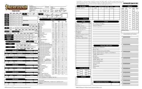 Danika Character Sheet